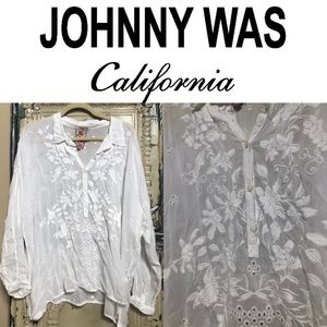 Johnny Was White Embroidered Floral Tunic Top